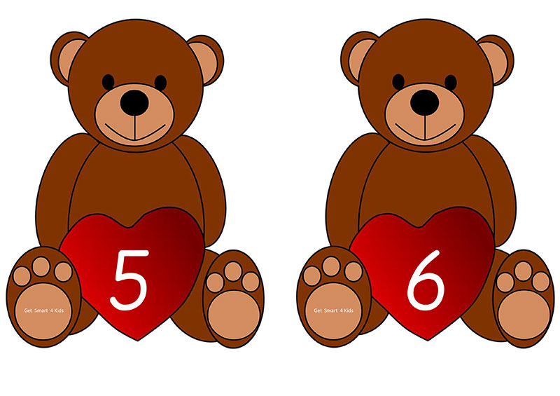 Teddy bear number line to 10